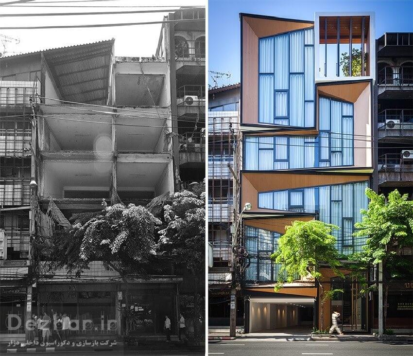 قبل و بعد نما بازسازی ساختمان قدیمی
