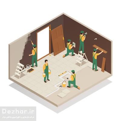 کارگران در حال بازسازی خانه