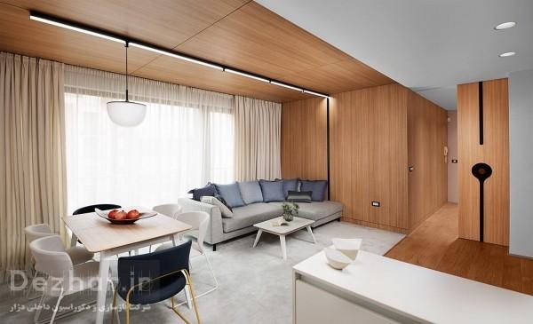 طراحی داخلی اپارتمان کوچک با چوب